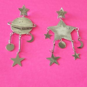 Silver Star and moon chandelier earrings🌠🌠💋